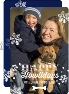 Happy Howlidays Snowflakes Dog Christmas Card