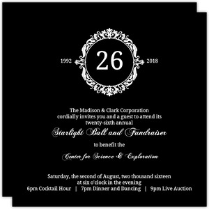 Black Elegant Monogram Charity Fundraiser Invitation