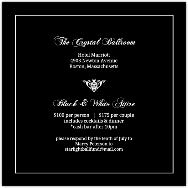 Black Elegant Monogram Charity Fundraiser Invitation  Fundraising