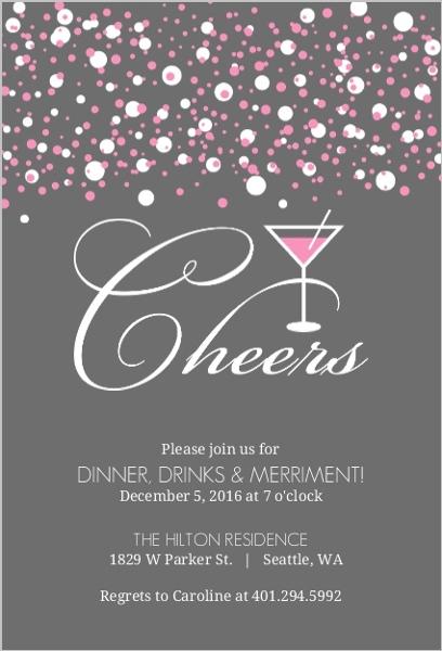 Pink bubbles martini cocktail party invitation cocktail for Cocktail party invite template