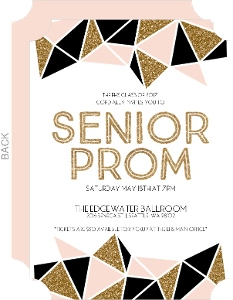 Geometric Glitter Senior Prom Invitation