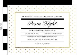 Modern Type Gold Foil Dot Prom Night Invitation