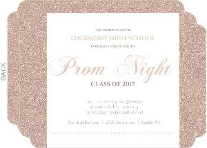 Dusty Rose Gold Glitter Prom Night Invitation