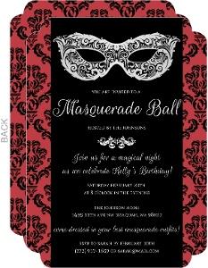 Red & Black Damask Masquerade Invitation