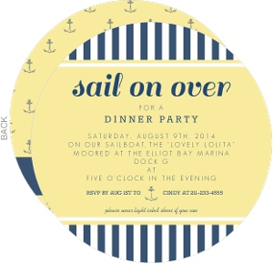 Nautical Blue And Yellow Dinner Invitation