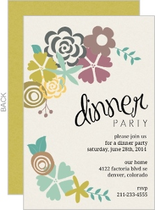 Modern Floral Dinner Party Invitation