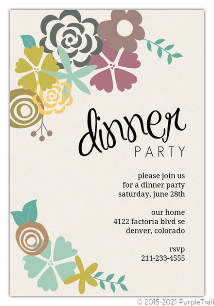 Modern Floral Dinner Party Invitation Dinner Party Invitations
