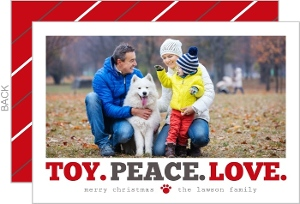 Toy Peace Love Pet Holiday Photo Card
