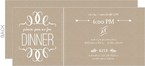 Faux Kraft Paper And White Modern Dinner Invitation