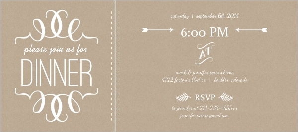 Faux Kraft Paper And White Modern Dinner Invitation  Dinner Party