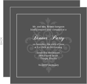 Grey And Elegant White Flourish Dinner Invite