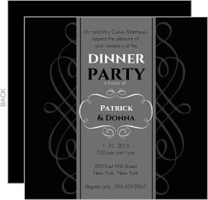 Black And Gray Formal Dinner Invite