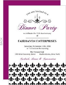Black and Purple Fleur De Lis Dinner Party Invitation
