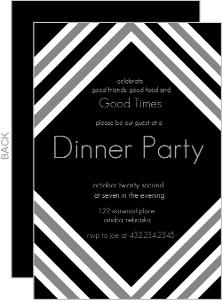 Modern Black And White Dinner Party Invite