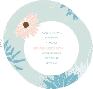 Pink And Blue Pastel Daisies Circle Dinner Invite