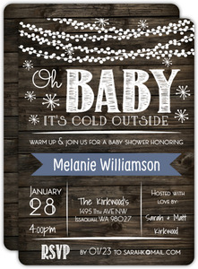 Rustic Baby It's Cold Outside Baby Shower Invitation Card