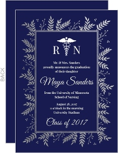 Navy & Silver Foil Foliage Nursing School Graduation Invitation