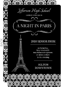 Black And White Parisian Prom Invitation