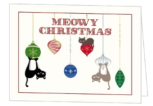 Cat Ornaments Pet Christmas Card