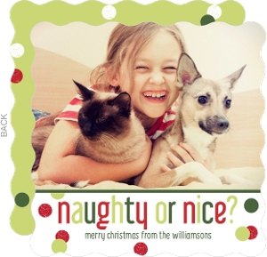 Naughty Or Nice Pet Christmas Photo Card