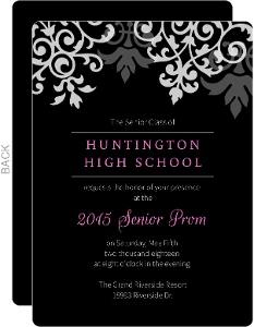 Black And Gray Flourish Prom Invitation