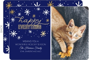 Happy Everything Snowflakes Cat Holiday Card