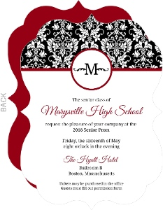 Black Red White Damask Prom Invitation