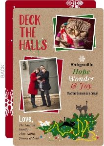 Cats On Tree Deck The Halls Pet Christmas Card