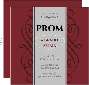 Maroon And Gray Square Formal Prom Invite