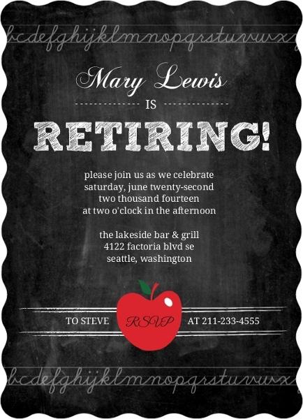Simple Chalkboard Teacher Retirement Invitation | Retirement ...