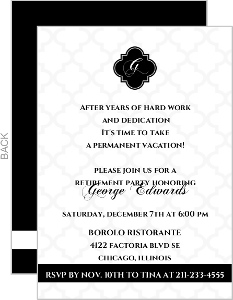 Black And White Formal Retirement Invitation