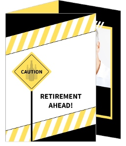 Yellow And Black Caution Retirement Party Invitation