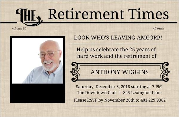 Antique Newspaper Retirement Party Invite | Retirement ...