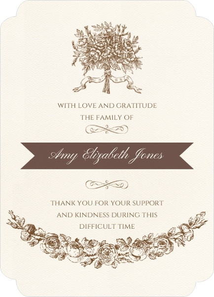 Vintage Bouquet Funeral Thank You Card  Memorial Cards