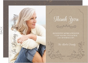 Elegant Swirls Funeral Thank You Cards