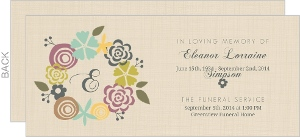 Cream Floral Wreath Monogram Memoral Card