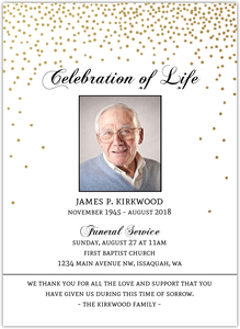 Formal Pattern Trifold Photo Funeral Invite