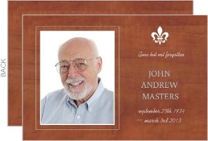 Woodgrain Fleur Des Lis  Memorial Card