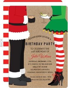 Santa & Elf Christmas Birthday Party Invitation