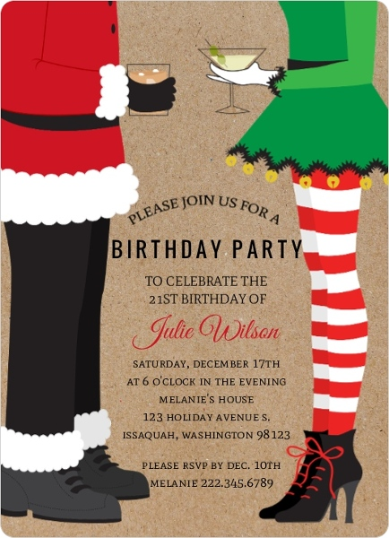 Santa & Elf Chistmas Birthday Party Invitation