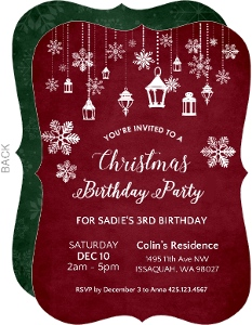 Hanging Lanterns Christmas Birthday Party Invitation
