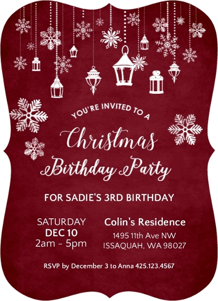 Hanging Lanterns Christmas Birthday Party Invitation