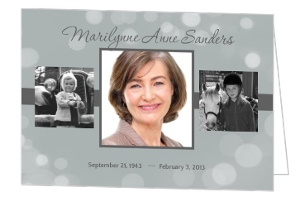 Grey Sparkles Memorial  Announcement Card