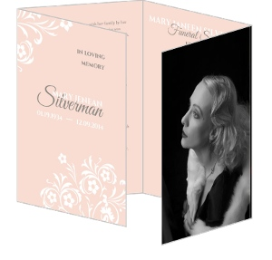 Light Pink Floral Quadfold Funeral Service Program