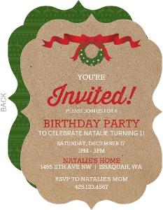 Elegant Kraft Wreath Christmas Birthday Invitation