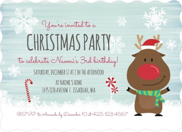 Cute Reindeer Christmas Birthday Party Invitation