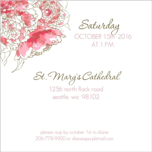 Pink Peony Funeral Service Invitation | Memorial Cards