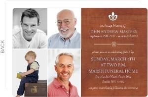 Woodgrain Fleur Des Lis  Funeral Service Invitation