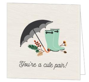 Rustic Rain Boots And Foliage Bridal Shower Congratulations Card