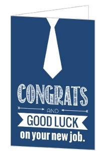 Navy Neck Tie New Job Congratulations Card